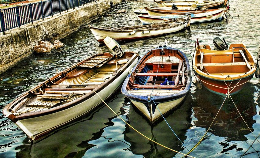 Boats Moored On Harbor