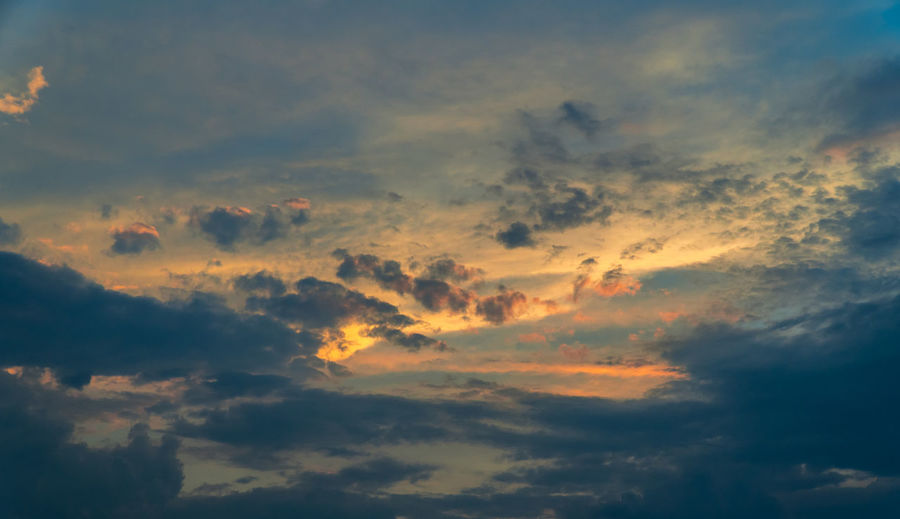Backgrounds Beauty In Nature Cloud - Sky Cloudscape Dramatic Sky Dusk Full Frame Idyllic Low Angle View Meteorology Moody Sky Nature No People Orange Color Outdoors Scenics - Nature Sky Sunset Tranquil Scene Tranquility