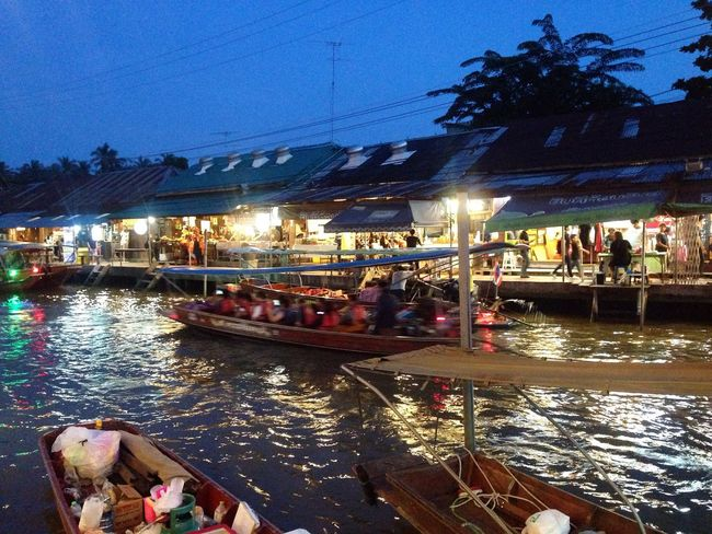 Amphawa floating market!! Illuminated Building Exterior Transportation Nautical Vessel Architecture Water Built Structure Tourist Canal Mode Of Transport Tourism Outdoors Large Group Of People Sky Men Night Gondola - Traditional Boat People Adult Floating Market Bangkok Thailand.
