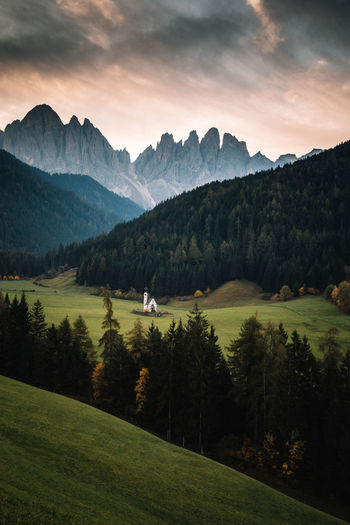 Mountain Sky Beauty In Nature Scenics - Nature Plant Landscape Environment Tranquil Scene Dolomites, Italy Val Di Funes Sunrise Church Built Structure Religion Green Color Morning Nature Tree Autumn Fall Italy Nature_collection Mountain Range Forest Mountain Peak Grass Tranquility Idyllic