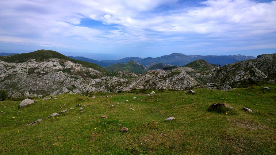 Landscape in Picos de Europa, Asturias - Spain Asturias Picos De Europa Road SPAIN Touristic Travel Walk Beauty In Nature Covadonga Europe Field Grass Hill Landscape Mountain Mountain Range Nature No People Outdoors Peak Tourism Trail Tranquil Scene