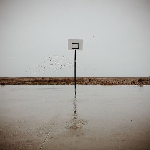 Lonely Loneliness Basket Basketball Play Playing Playground France Minimalism Minimal No People Minimalobsession Foggy Havre