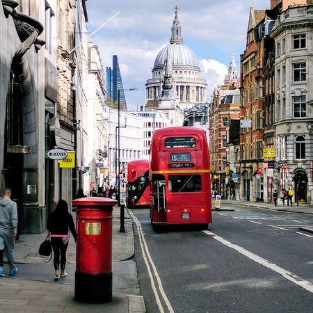 A very London view! Double Decker Bus Double Decker City Street Architecture St Paul's Cathedral Postbox City Street City Life Red Public Transportation Double-decker Bus Outdoors Built Structure Cityscape People East London London Streets Streetphotography City City Life Transportation