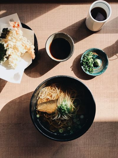 Soba and tempura Soba Japanese Food Japanese  Table High Angle View Indoors  Directly Above No People Day Freshness Close-up Ready-to-eat