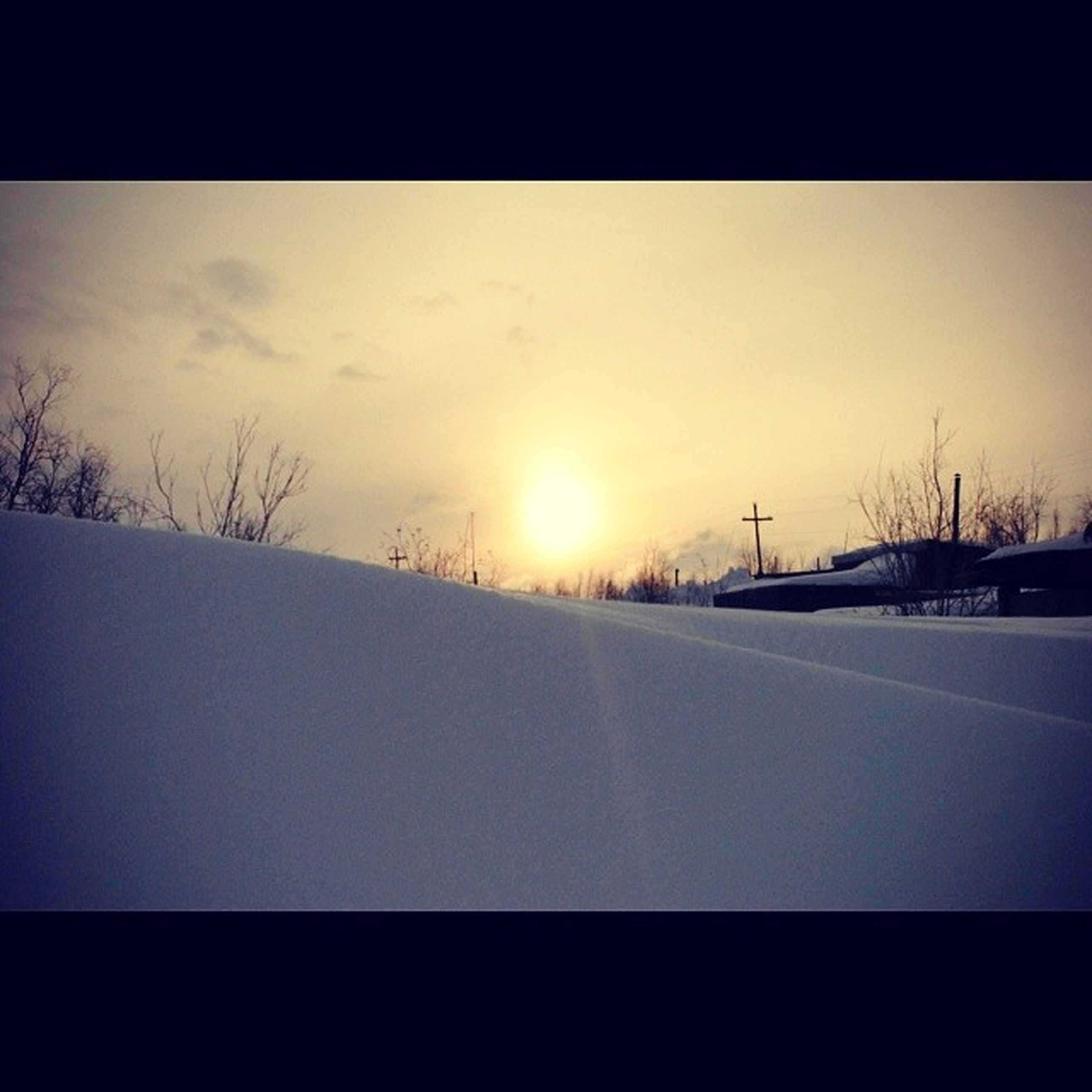 snow, winter, cold temperature, sun, transportation, road, season, sunset, weather, covering, sky, landscape, nature, the way forward, tranquil scene, sunlight, tranquility, scenics, beauty in nature, transfer print