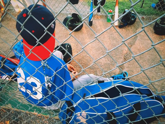 Play Ball Chainlink Fence Day Multi Colored Outdoors Boy Children Color Baseball Sport Outside Summer Dugout Hat Person Fence Oklahoma Kid Fun Uniform Little