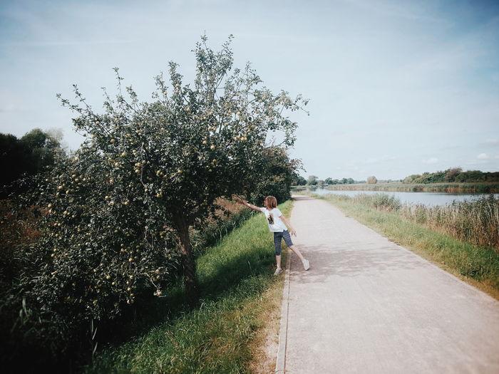 Girl reaching towards tree by road against sky