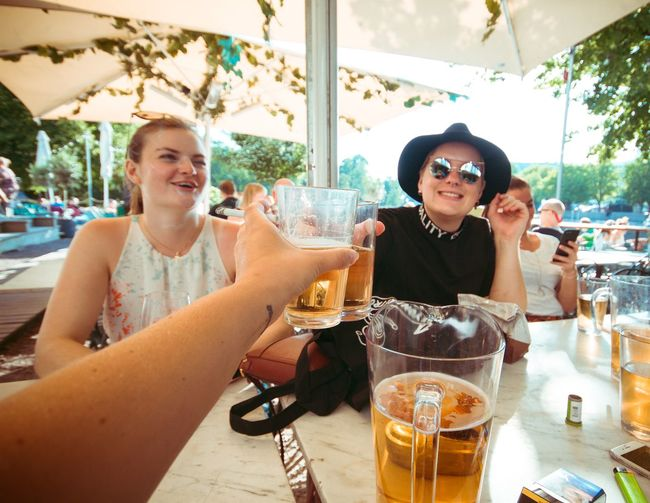Cheers Beer Celebration Alcohol Birthday Drink Refreshment Alcohol Adult Food And Drink Smiling Friendship Emotion Lifestyles Glasses Happiness Glass Togetherness Men Real People Table Sunglasses Fashion