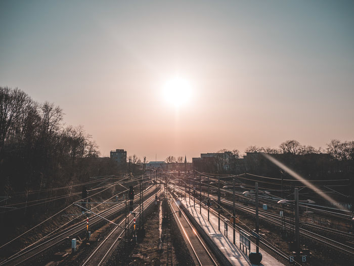 Berlin Sunlight Architecture Built Structure City Diminishing Perspective High Angle View Mode Of Transportation Nature No People Outdoors Plant Public Transportation Rail Rail Transportation Railroad Track Sky Sun Sunlight Sunrise Sunset Track Transportation Tree Vintage