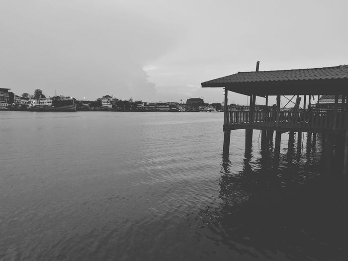 River life Samutsongkhram River View Riverside Blackandwhite Pier Sea Built Structure Water Tranquility Beach Stilt House Architecture Wooden Post Outdoors Wood - Material Day Sky Nature Tranquil Scene No People Travel Destinations Building Exterior Vacations Scenics