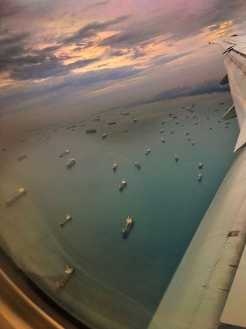 Ships waiting for the port in Singapore... Water Port Ship Flight Harbour Ocean Travel Singapore