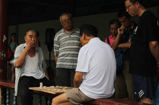 Casual Clothing Chinese Chess Leisure Activity Lifestyles Men Sitting Smoke Smoking Wiseman BEIJING北京CHINA中国BEAUTY