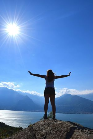 Blue Rear View Sunlight Sky Clear Sky Nature Outdoors One Woman Only Beauty In Nature Day Freedom Free Peace Lost In Nature Lost In Thought... Lostplaces Landscape Lake Italy Like4like
