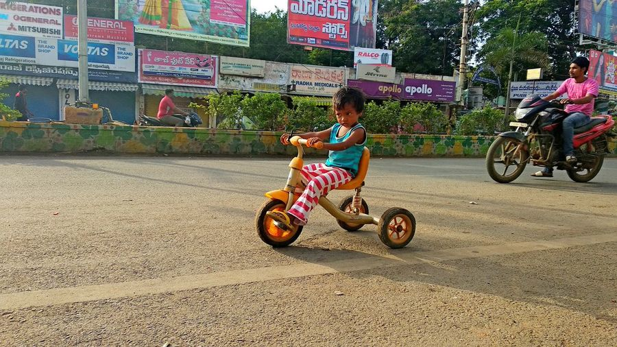 Indian Road Cycling Childhood Full Length Motorcycle Land Vehicle Riding