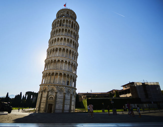 Ancient Civilization Architecture Building Exterior Built Structure City Clear Sky Day History Landscape Leaning Tower Leaning Tower Of Pisa Outdoors Real People Sky Tourism Travel Travel Destinations