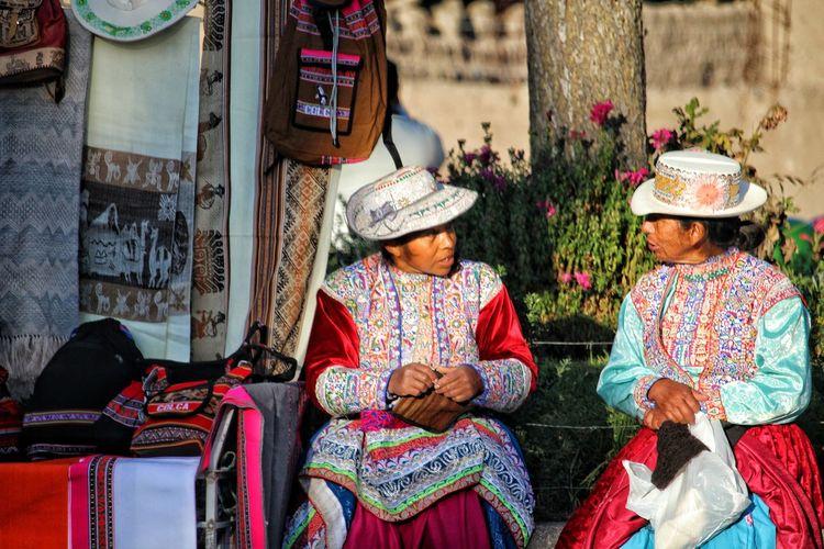 talking Women Sitting Sari Traditional Clothing City Rural Scene