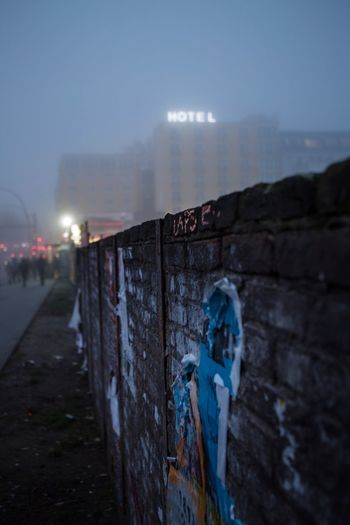 HOTEL Mood Berlin Love Sunset Foggy Hotel Hotel Sign Sky Architecture Outdoors Built Structure No People Night Building Exterior Illuminated Shades Of Winter Adventures In The City