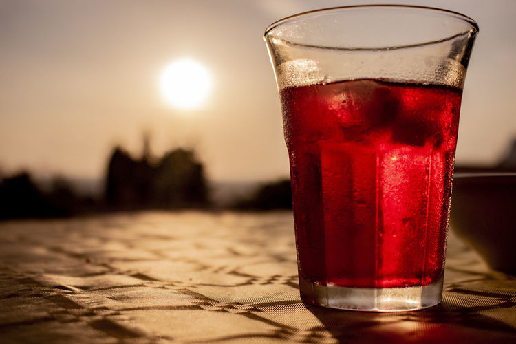 #capturetomorrow Food And Drink Glass Drink Focus On Foreground Red Close-up Sun No People Sunset Outdoors Capture Tomorrow