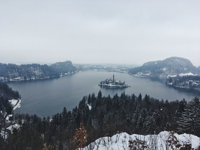 High angle view of lake bled during winter