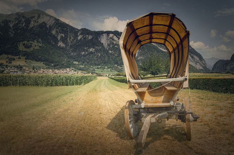Horse cart on field by mountains against sky