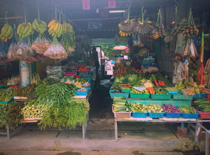 Multi colored vegetables for sale in market