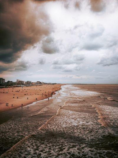 Scheveningen beach in The Hague, The Netherlands Sand Cloud - Sky Water Sky Land Beach Sea Tranquility Nature Horizon Outdoors First Eyeem Photo