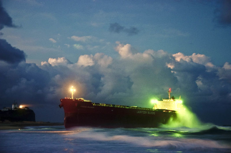 Aground Dramatic Sky Night No People Ship Weather