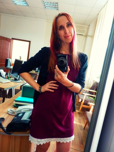 Red Hair Girl Beautiful Dress  Office Life