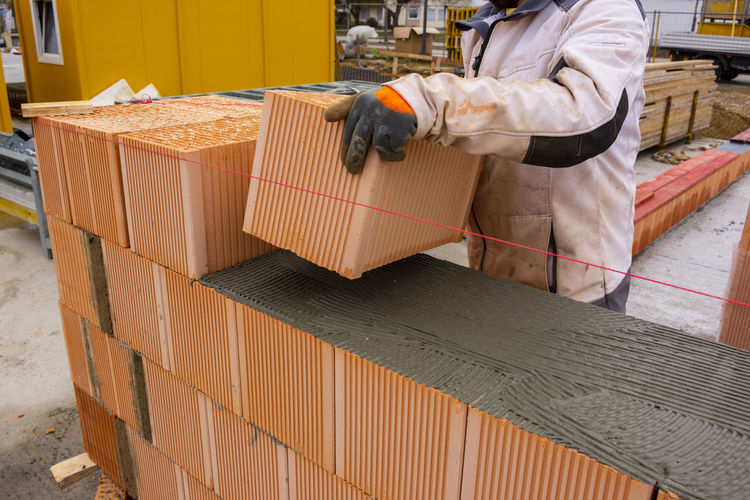 High angle view of man working in box