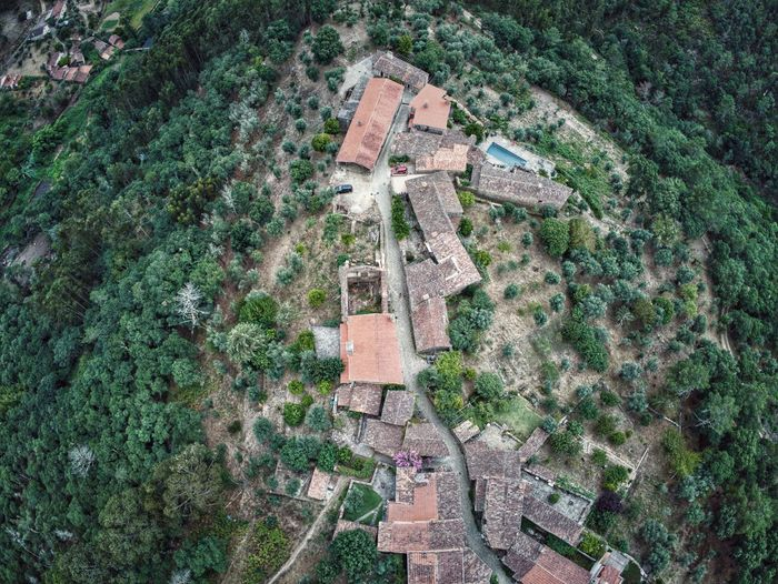 Aerial view of old buildings