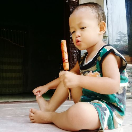""""" Boy Yummy Sosisbakar Enak Sitting Childhood Child"