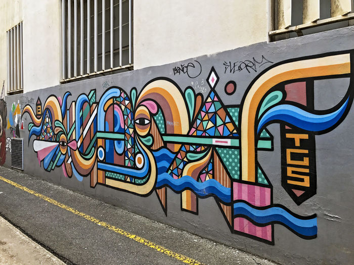 Street Art. Australia Architecture Art And Craft Building Building Exterior Built Structure City Creativity Day Graffiti Multi Colored Mural No People Outdoors Pattern Representation Road Street Street Art Streetart Text Wall Wall - Building Feature Adventures In The City