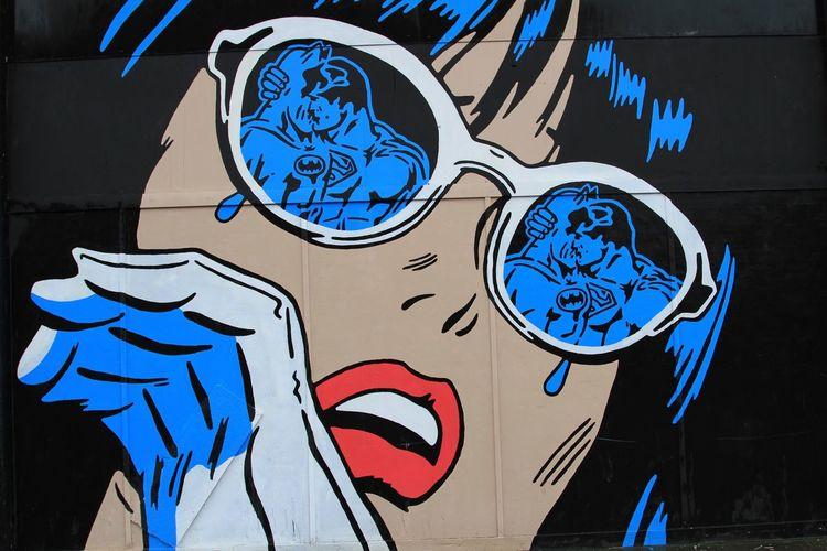 Art Art And Craft ArtWork Batman Batman Vs Supermam Circle Communication Creativity Croydon Dawn Of Justice Design Glasses Graffiti Human Representation Indoors  Kissing Ornate Red Lips Shocked Superman Symbol Te Wall Wall - Building Feature Woman
