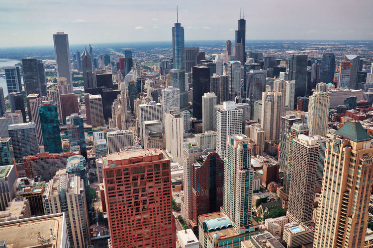 Aerial view of buildings in city - skyscrapers - empire of chicago