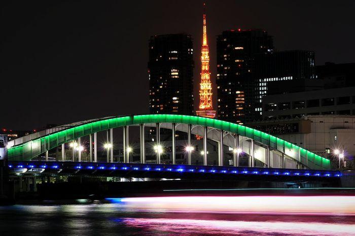 Night Illuminated Cityscape Modern Water Sumida River Tokyotower Japan River View Nightscape Nightphotography Nightview Tokyo Tower Urban Skyline Reflection Sumida River Tokyo