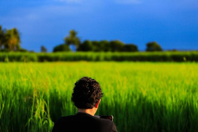 Rear view of man on field