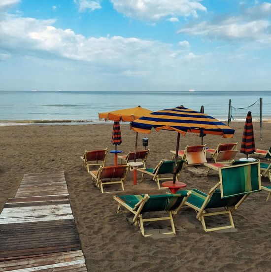 Sea Sky Blue Sky Deckchairs Deckchair Sunshade Sunshades Durres Beach IPS2015Summer