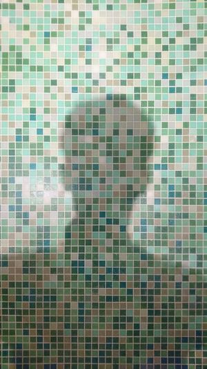 Tile Pattern Tiled Floor Swimming Pool Tiled Wall Day Modern Backgrounds Architecture Shadow Human Head Indoors  Green Color Green