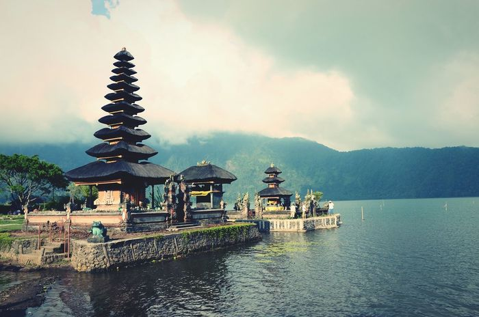 Architecture Built Structure Spirituality Temple - Building Culture Water Lake Outdoors Cloudy Hinduism Hindu Temple Hindu Culture Bali, Indonesia Bali no people Cultures Architecture
