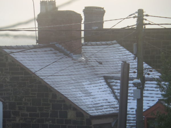 Architecture Building Exterior Built Structure Close-up Cold. Day Light Snow Light Snow Shower No People Outdoors Sky Snow On Roof. Snow On Roofs Of A Welsh Cottage Snow. Telegraph Poles With Wires Cables Big Sky Birds Gull Gulls Bird Sea Birds Welsh Cottages Winter Wires