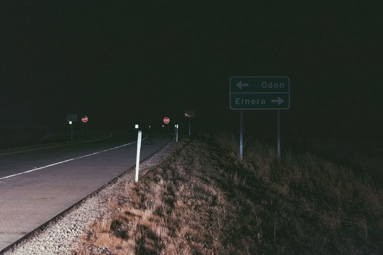 Resting on the shoulder in Indiana, USA Lost in the Landscape EyeEmNewHere Movie Feeling Pulled Over Choices Communication Film Feeling Filmfeel Grass Guidance Highway Illuminated Nature Night No People Outdoors Pulled Over To Rest Road Road Sign Scene Text Transportation