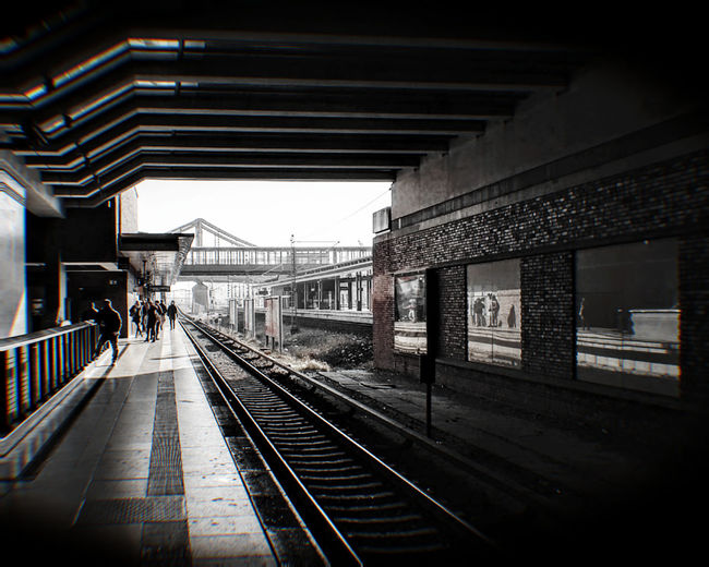 Railroad Track Transportation Rail Transportation Railroad Station Platform Public Transportation Railroad Station Travel Built Structure Architecture Travel Destinations Mode Of Transport Building Exterior The Way Forward Day Outdoors City Life Straight Diminishing Perspective Public Transport No People