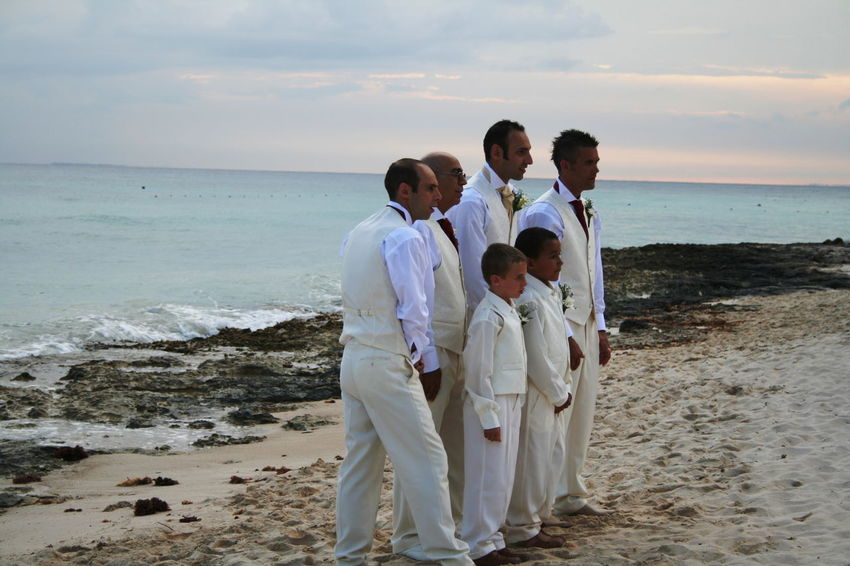 2007 Dominican Republic Dominicus Beach Marriage Ceremony Beach Day Full Length Group Photo Horizon Over Water Medium Group Of People Outdoors People Sand Sea Standing Water Wedding Dress