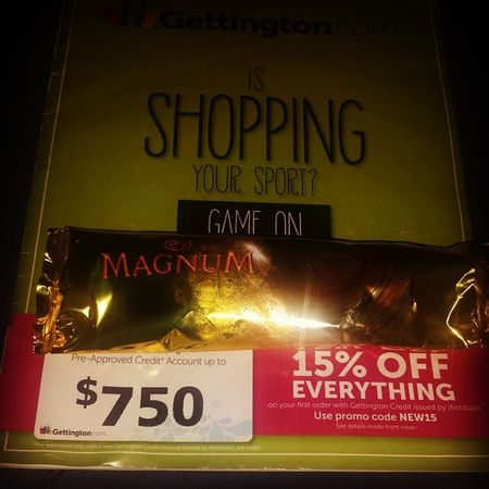 My current situation.... MagnumCaramelIceCreamBar CatalogShopping Flyinghigh Munchies IDK WhatToOrder Lol