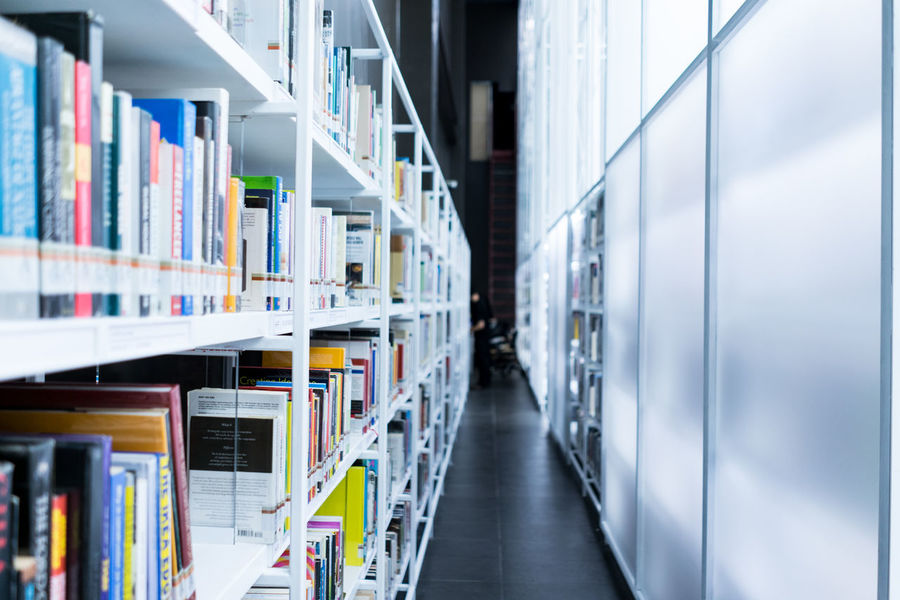 Library and work space at TCDC, Thailand Book Bookshelf Clean Design Indoors  Interior Knowledge Library Lifestyle Place Places Shelf Source Student White Work Space