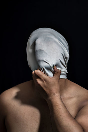 Suffocated My Best Photo Men Black Background Studio Shot Adult Human Body Part Shirtless Indoors  One Person Young Adult Headshot Obscured Face Covering Unrecognizable Person Hiding Front View Young Men Human Hand Portrait Hand Human Face