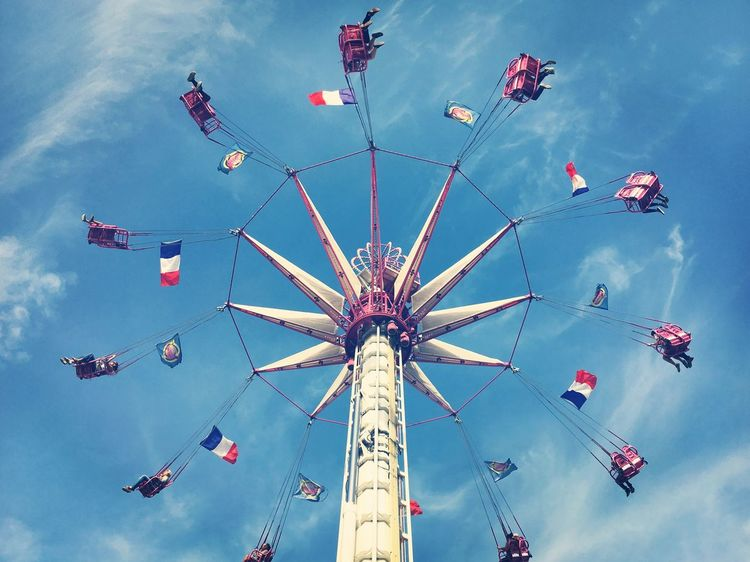 Paris Jardin Des Tuileries Carnival Shortlived In The Air Swing Fairground Ride Amusement Park French Flag Low Angle View People Sky Lovers Outdoors Sunny Day Roundabout From My Point Of View EyeEm Best Shots EyeEm Selects EyeEmBestPics Taking Photos Hello World