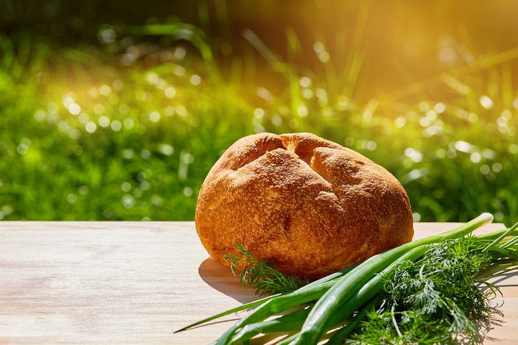 Close-up of fresh bread on table