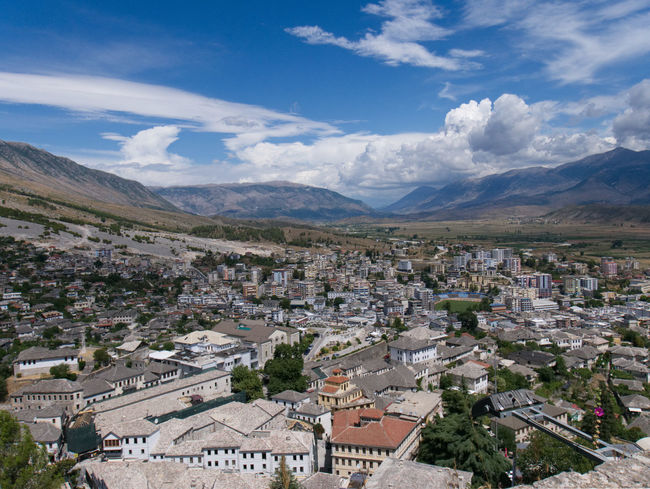 Albania Albania Tour Gjirokaster Architecture Beauty In Nature Built Structure Cloud - Sky Day High Angle View Landscape Mountain Mountain Range Nature No People Outdoors Sky Town Tranquility