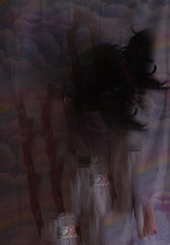 Digital composite image of people standing in nightclub